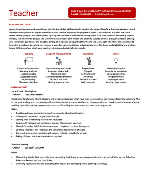 Free Resume Templates For Teachers 26 Resume Templates Free Sle Exle Format