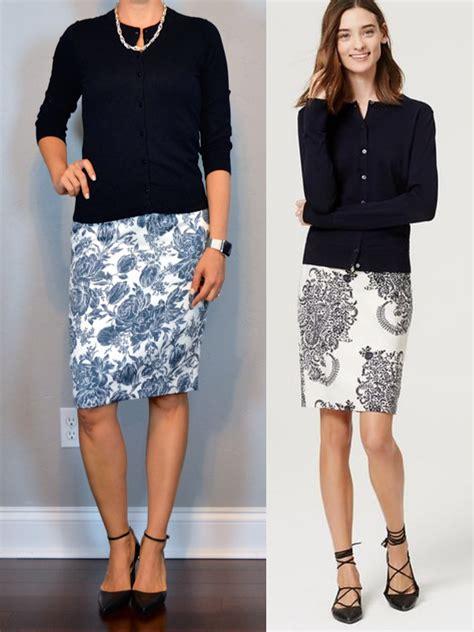 post navy cardigan blue floral pencil skirt