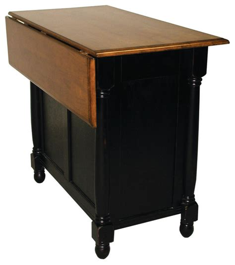 kitchen island cart with drop leaf sunset trading antique black kitchen island with cherry