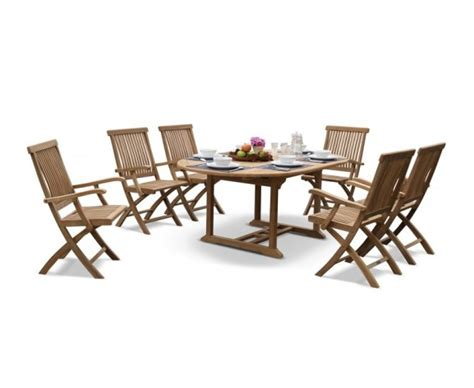 hton fixed rectangular 6 seater dining set garden brompton deluxe outdoor 6 seater extending dining set with folding chairs teak