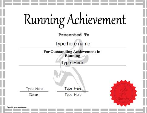award certificate template for schools and sport clubs sports certificate achievement in running