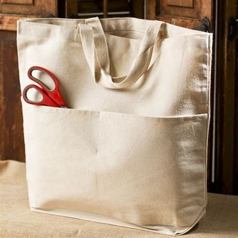 Natural Canvas Pocket Tote Bag   Bags   Basic Craft