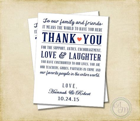 thank you letter to my on my wedding day items similar to wedding thank you note welcome bag