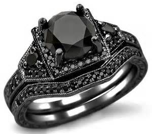 2 05ct black engagement ring bridal set 14k