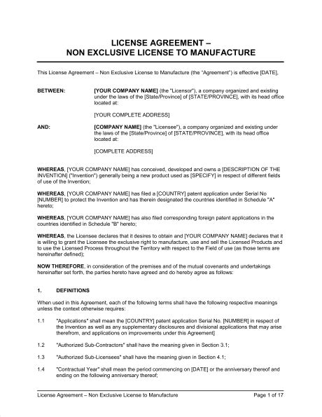 Non Exclusive License Agreement Template license agreement non exclusive license to manufacture