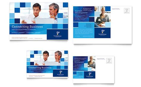 technology consulting it postcard template design