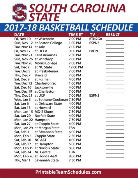 printable unc basketball schedule printable south carolina state basketball schedule 2017 18