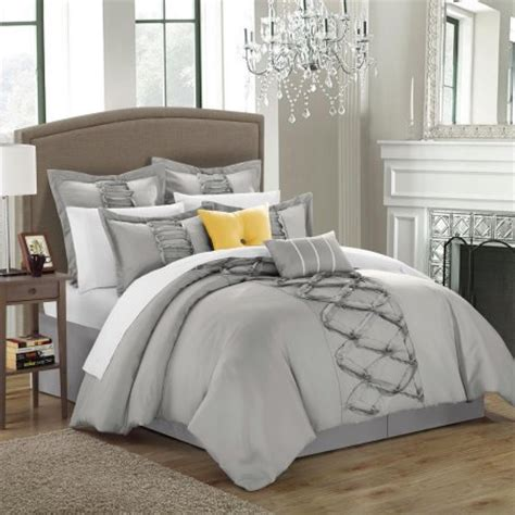 silver ruffle comforter ruth ruffled silver queen 12 piece comforter bed in a bag