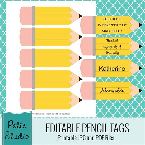 printable labels for classroom free printable pencil tags for classroom use and craft