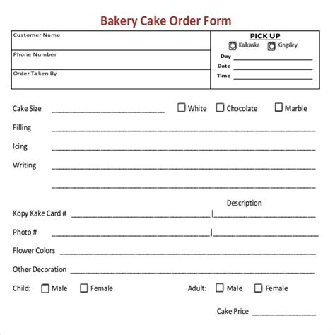 bakery order template 16 free excel pdf documents