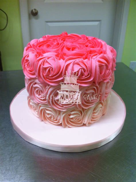 pink ombre rose cake rach  cakes