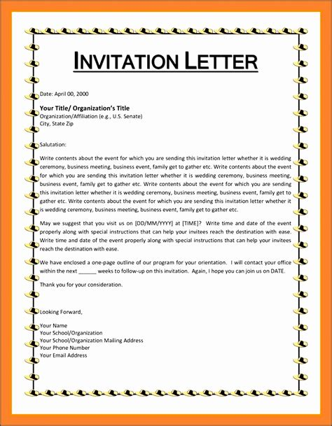 formal invitation template for an event 5 formal invitation letter sle for an event