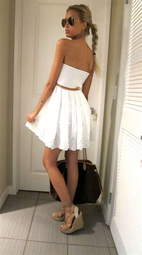 White Wedges Dress white summer dress with wedge sandals and some