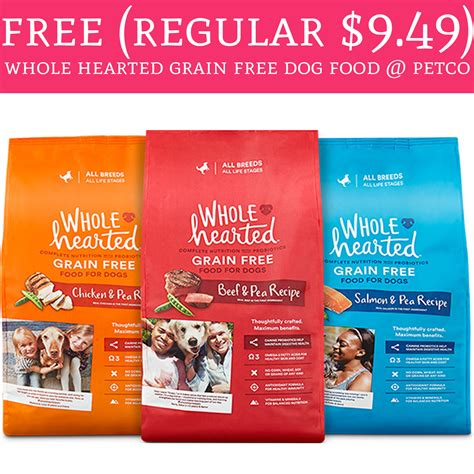 petco grain free food freeeee regular 9 49 whole hearted grain free food petco deal