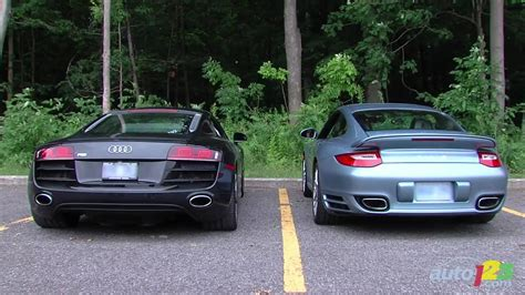 audi r8 vs porsche 911 turbo audi r8 5 2 vs porsche 911 turbo s engine sounds