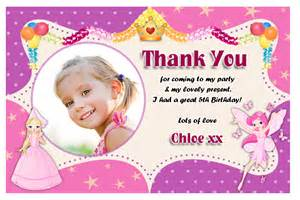 thank you cards birthday 10 personalised princess birthday thank you thankyou