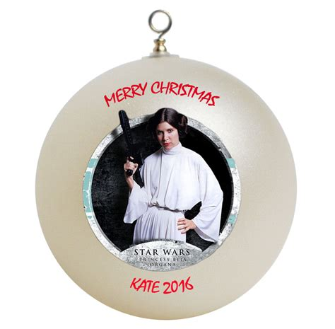 personalized star wars princess leia christmas ornament