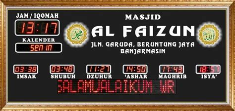 Jam Digital Masjid 13 provinsi kalimantan selatan jadwal adzan dan sholat digital