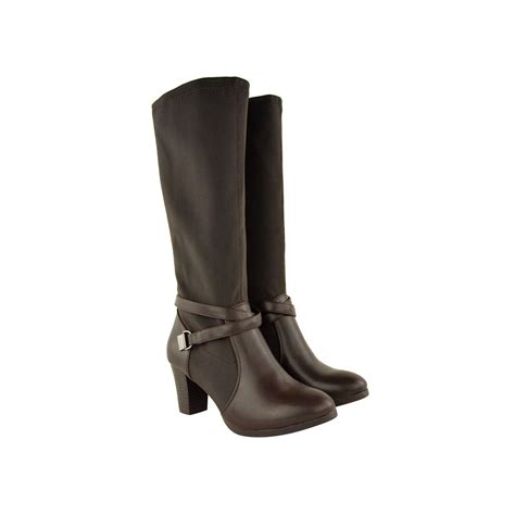 brown faux leather stretch knee high boots maxine