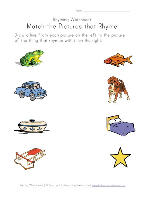 Rhyming Worksheets rhyming words for images