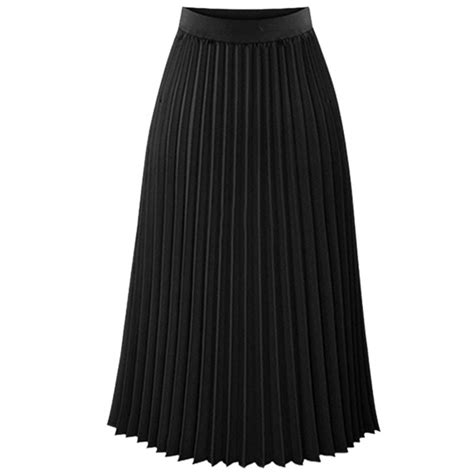 Pleated Chiffon Skirt midi pleated skirt elastic waist