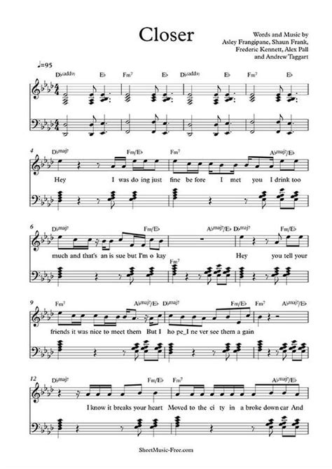 printable sheet music for free on piano closer sheet music the chainsmokers fm download closer