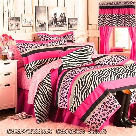 Pink Zebra Bedding Set Pink Black White Zebra Stripe Bedding Comforter Set Valance Piillow Ebay