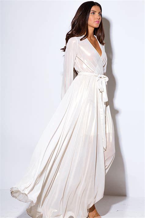 Rl Flowy Maxi shop ivory white metallic chiffon blouson sleeve faux wrap