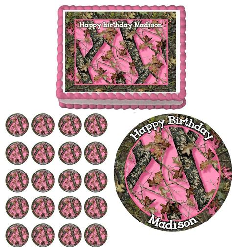 decorations next next camo pink camouflage edible birthday cake cupcake