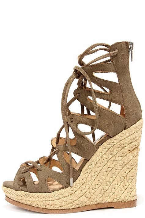 Sandal Wedges Mr101 Coklat 9 taupe suede wedges lace up heels wedge sandals