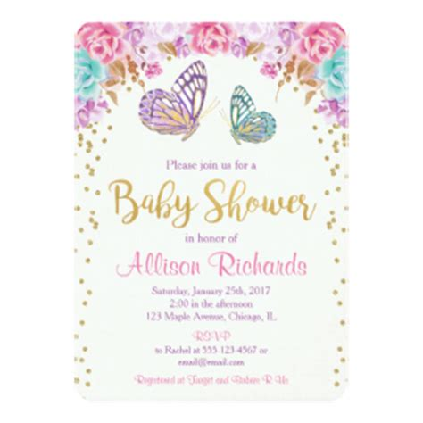 Pink And Purple Baby Shower Invitations by Pink Gold Baby Shower Invitations Announcements Zazzle