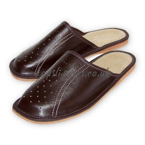 mens leather house slippers buy brown leather house slippers mules for men model no 345bu