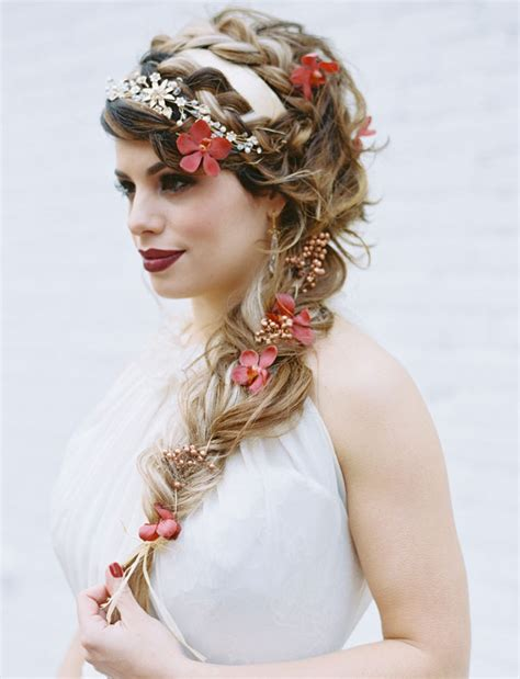 Wedding Hair Braid With Flowers by Shakespeare Wedding Inspiration Green Wedding
