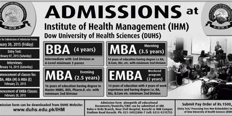 Mba Application Form 2017 Last Date by Dow Duhs Bba Mba Emba Admissions 2017 Form