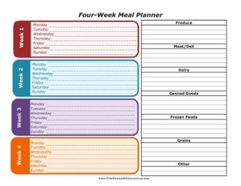 Printable Four Week Meal Planner With Grocery List Free Weekly Meal Planner Template With Grocery List