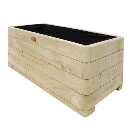 Bosmere English Garden 39 in. W x 20 in. D x 15 in. H Rectangular Wood Planter A061   The Home Depot