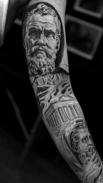 sleeve zeus pantheon tattoo by jun cha
