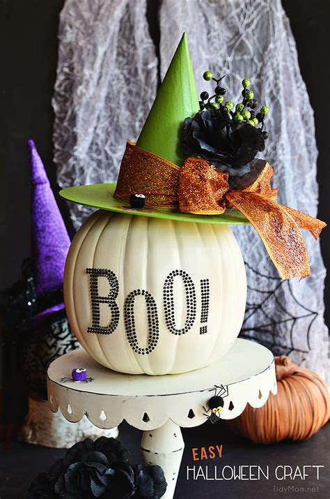 easy halloween craft pumpkin witch hat