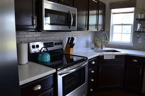 hometalk kitchen reveal dark cabinets light counters