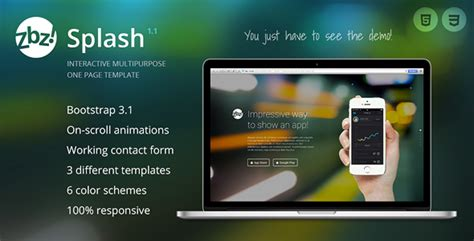 bootstrap splash page template zbz splash 226 interactive one page template jquery css de