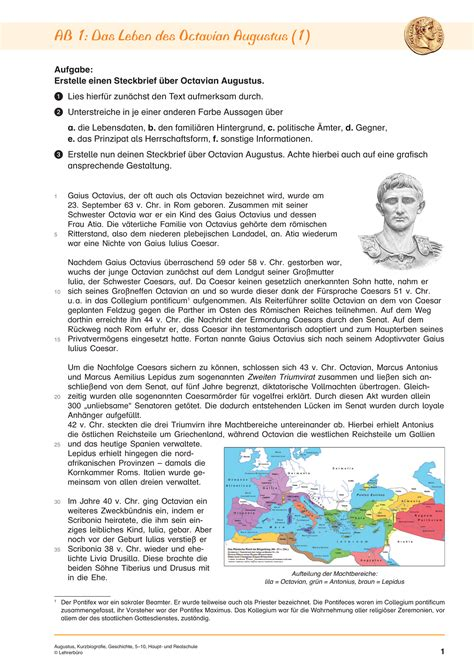 Kurzbiografie Caesar Antike 183 Arbeitsbl 228 Tter 183 Sekundarstufe I 183 Lehrerb 252 Ro