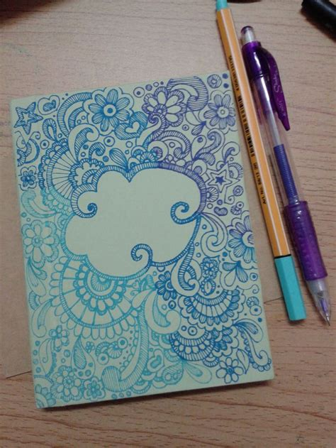 notebook cover design handmade doodle for diy notebook cover my work pinterest