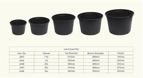 Planter Sizes by Plastic Plant Pots Wholesale Black Flower Pot 2 5 Gallon