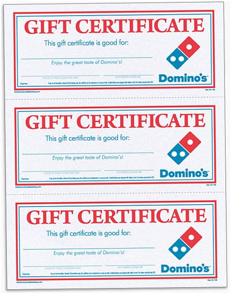 pizza gift certificate template domino s pizza local store marketing materials