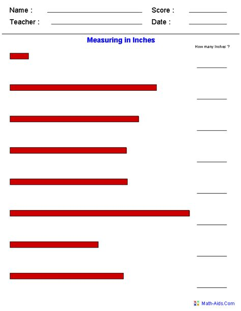 free printable measuring worksheets for 1st grade measuring in inches worksheets teach measurement