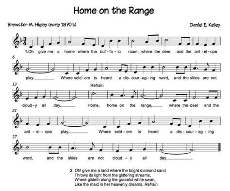 printable lyrics home on the range home on the range song home on the range state song
