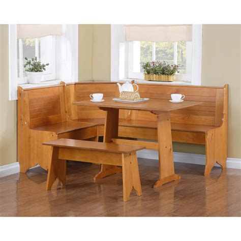 breakfast nook 3 piece corner dining set honey