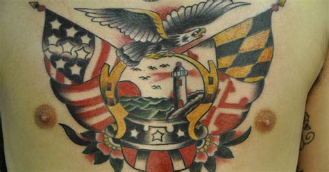 tattoo parlor denton chest eagle light house traditional tattoo maryland flag