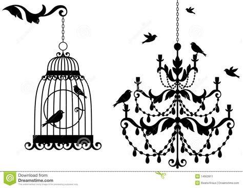 antique birdcage and chandelier stock vector