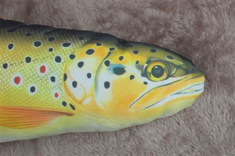 Stuffed Fish Pillow by Fish Large And Small Trout Pillow Stuffed Novelty Cushion